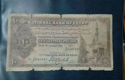 Egypt 10 pounds1920 very rare Banknote .