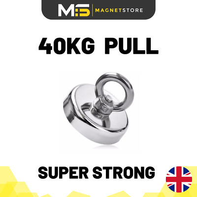 Super Strong Neodymium Recovery Fishing Magnet 42mm 40kg / 88lbs Pull Eyebolt
