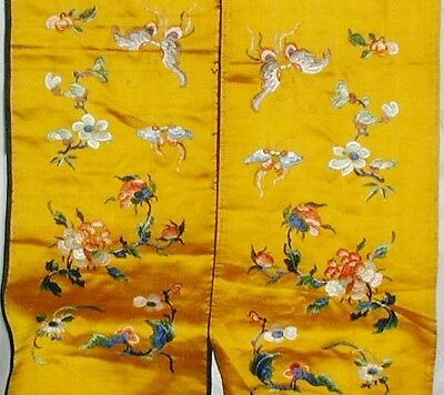 Chinese Embroidery Embroidered Butterfly s Yellow Silk Panels Gold Thread