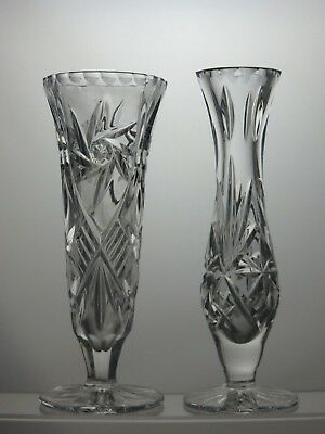 Beautiful Design Cut Glass Crystal Small Vases Set Of 2