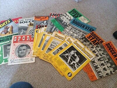 JOB LOT OF 27 FOOTBALL AND SPORTS MAGAZINES MAINLY 1940s AND 1950s