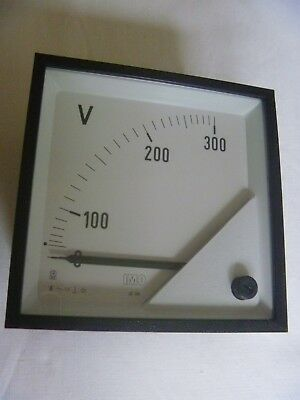 Panel Mount Analogue 300 Volt AC Voltmeter by IMO, Model JE-96. 92mm Square