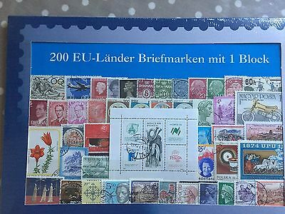 200 different stamps of EU EEC countries incl miniature sheet in retail pack