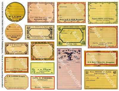 Apothecary Labels, 1 Sticker Sheet, Antique Pharmacy Bottle, Blank Drug Labels