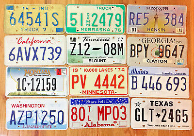 12 Pack of License Plates from 12 Different States