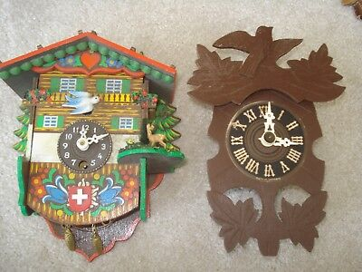 German Carved Wooden Cuckoo Wall Clock Spares or Repair Mechanical Kroewerath