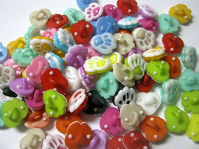 20 Animal Paw Shank Resin Buttons Mixed Colors, Paw Buttons, Kids Buttons  1303