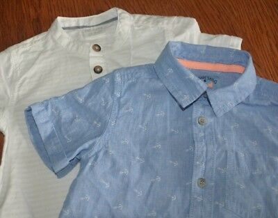 Two Boys Cotton Fab Short Sleeved Shirts, Aged 12-18 Months