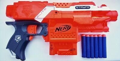 Nerf stryfe used, modified. Electronic & mechanical locks removed, faster firing