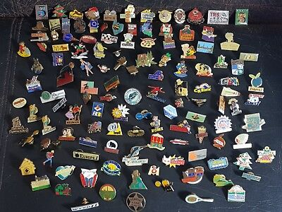 JOB LOT OF 125 Mixed Mostly French Vintage Enamel Pin Badges 80s 90s Pins  Lot 2