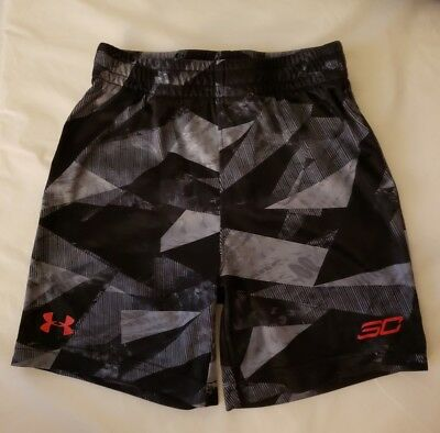 UNDER ARMOUR UA Athletic Shorts Boys black red grey Toddler size 4T pre owned SC
