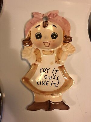 "Vintage Japan Spoon Rest Holder Girl ""Try it you'll like it!"""