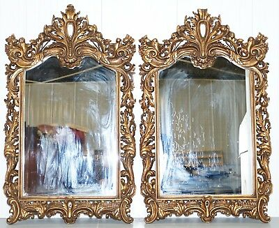 Matching Pair Of Hand Carved French Gold Leaf Painted Large Mirrors Rococo
