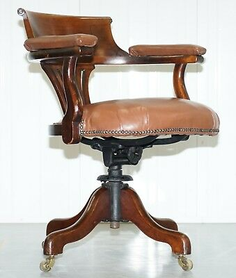 Victorian Aged Brown Leather Captains Office Chair Original Early Swivel Frame