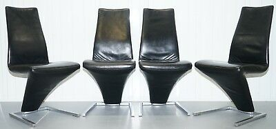 Set Of Four Rrp £7820 Black Leather Rolf Benz 7800 Dining Chairs Iconic Design