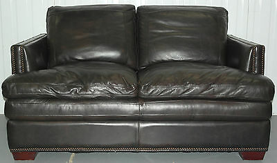 Contemporary Double Cushion Extra Comfortable Brown Leather Studded Club Sofa