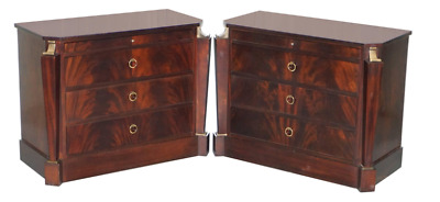 Pair Of Rrp £24,200 Baker Empire Drawers By Thomas Pheasant Sable Wood & Bronze