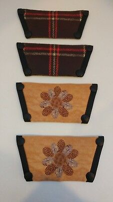 TWO (2) Onesole Size M Brown Tan Flower Plaid Designs Interchangeable Toppers EC
