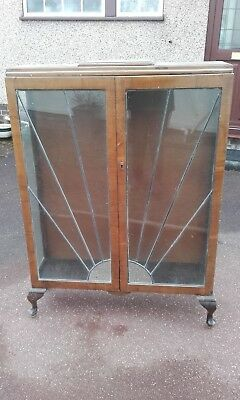 Art Deco style lockable glass mahogany cabinet for restoration