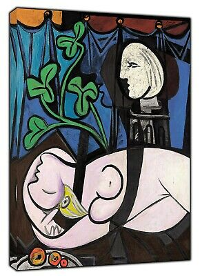 Pablo Picasso Nude Green Leaves and Bust Oil Paint Reprint On Framed Canvas Art