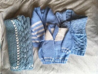 Baby Boys Knitted  X 3 Cardigans And Crochet Blanket  Bundle 0-3 Months