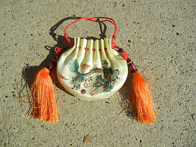 Vintage Chinese Silk Embroidered Pouch with Phoenix and Dragon
