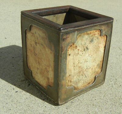 Antique Chinese Pewter Brush Pot Holder Inlaid with Stone with Zitan Wood Rim