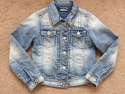 Girls Light Blue, Distressed, Denim Jacket from Next, Age 8 Years