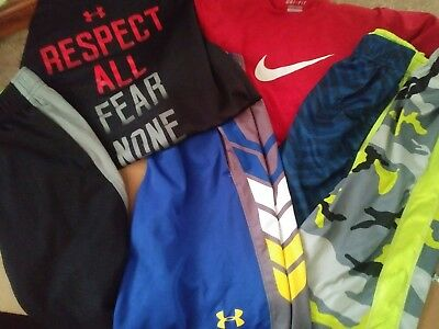 boys m 8 10 nike ua under armour heat gear dri fit athletic lot sets outfits