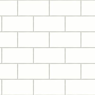 Soft White Subway Tile on Easy Walls Wallpaper by Chesapeake 3115-12491