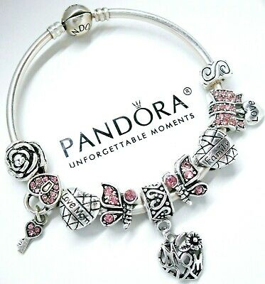 Authentic Pandora Silver Bangle Bracelet MOM HEART PINK LOVE European Charm Bead