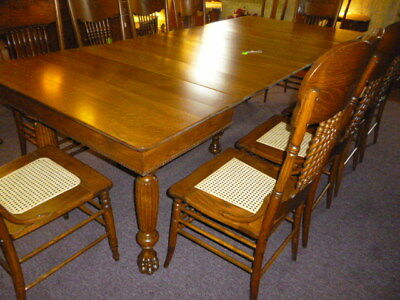 Antique Oak Table extension quartersawn tiger 6 leaves claw feet refinished 1900