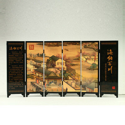 China Lacquerware Handwork Painting Ancient Chinese Market Screen R3026