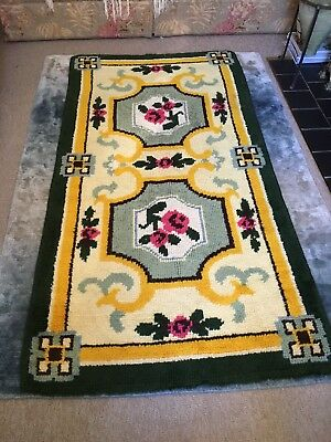 "Vintage  Latch Hook Rug PURE WOOL FLORAL MID CENTURY 1950s /60's 69"" X 36"""