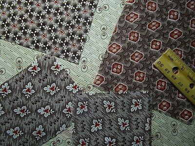 Antique Fabric Scraps 1800's madder calico's Dolls Quilt Primitives