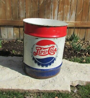 Large Vintage 1948 Pepsi Cola Double Dot 5 Gallon Soda Pop Syrup Metal Can Sign