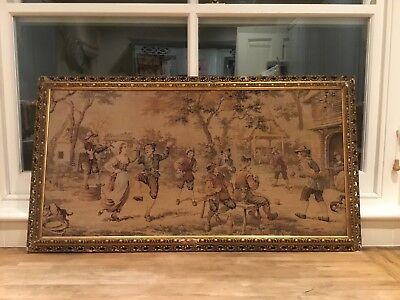 Lovely old tapestry - pretty frame - 99p no reserve!