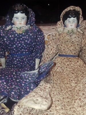 Pair of Antique China Dolls Jenny Lind #8 porcelain painted faces Beautiful!