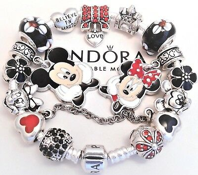 Authentic Pandora Silver Bracelet With Mickey & Minnie Disney European Charms...