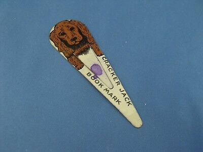 Vintage Metal Cracker Jack Book Mark Premium prize Spaniel Dog