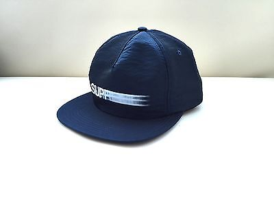 9a8c46efefa SUPREME MOTION BOX Logo Iridescent 5 Panel Navy -  85.00