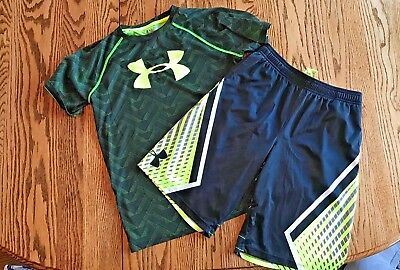 Matching Under Armour Boys Heat Gear shorts  (YL) and shirt (YXL)