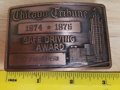 1974 * 1975 Chicago Tribune Safe Driving Award Belt Buckle