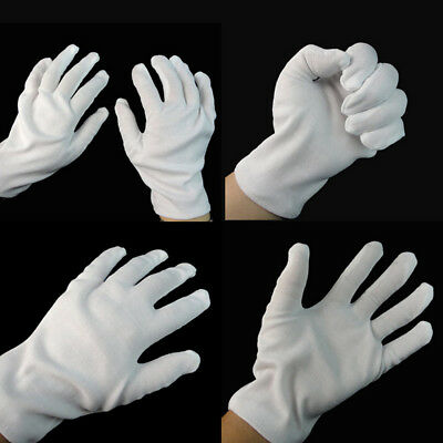 1Pair Hip hop Performance White Gloves Cotton Magician Costume Party Halloween L