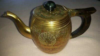Beautiful Vintage Brass Teapot With Wooden Handle - Made In India - Good Cond