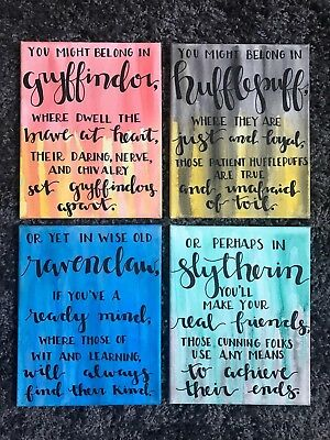 Harry Potter Houses Watercolor Calligraphy Canvas - All Houses