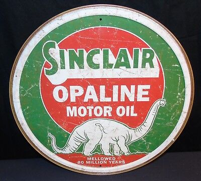 "Sinclair Opaline Motor Oil Dino Gasoline 11.75"" Round Metal Tin Sign BRAND NEW"