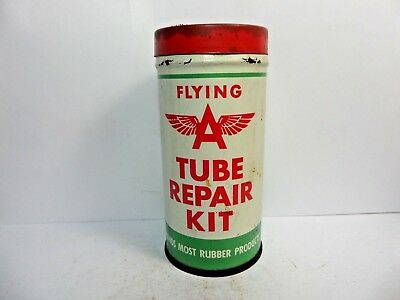 Vintage Very Rare Mobil Rubber Tube Repair Tire Patch Kit Tin Can