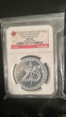 2013 CANADA MAPLE LEAF, 1 oz Silver, 25th ANNIVERSARY EARLY RELEASES NGC MS 68