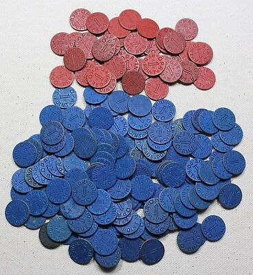 Lot of 142 Blue and 42 Red Vintage WW2  Food Ration OPA Tokens